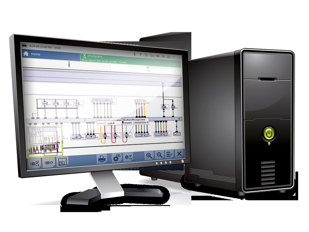 mega macs PC, schémas électriques interactifs